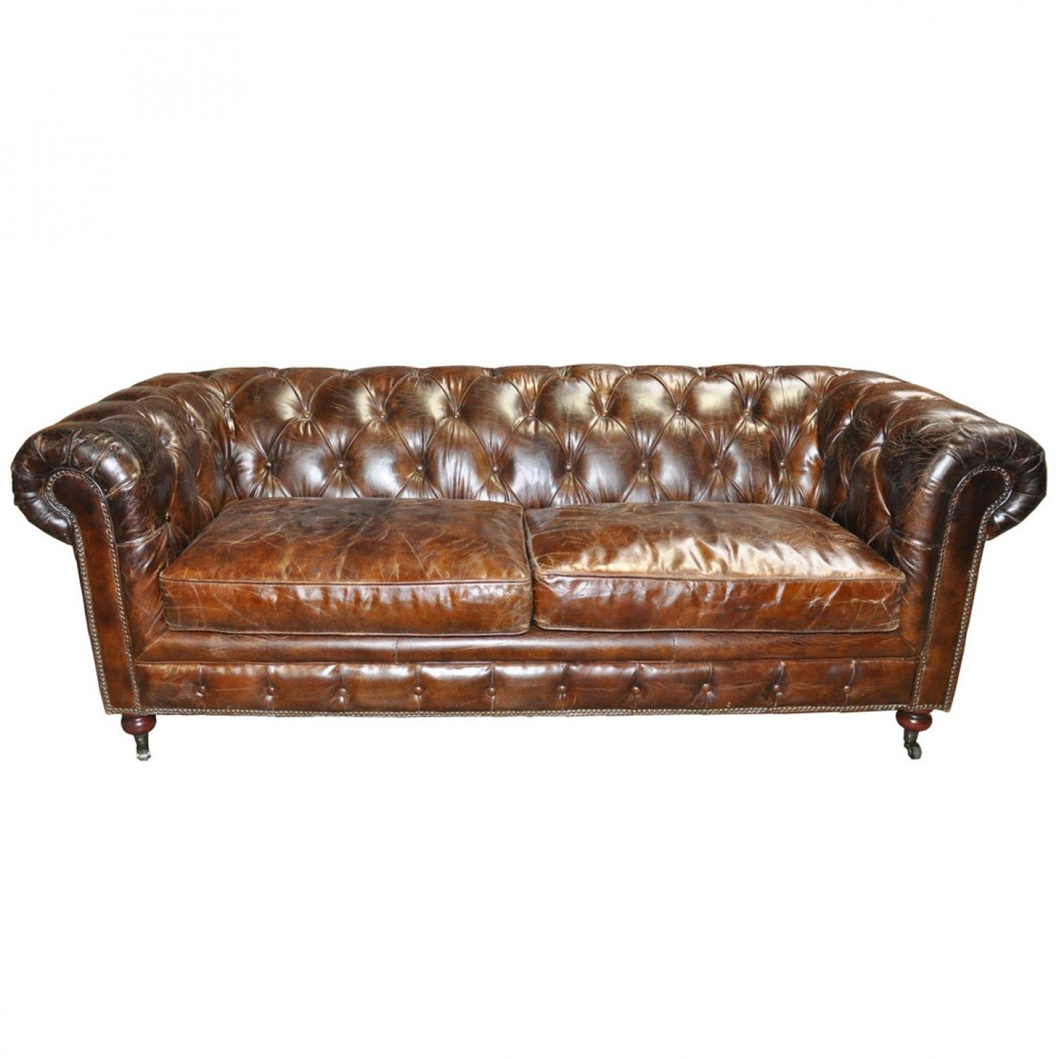 3 Seater Tufted Sofa In Brown Vintage Leather 4 752 00  # Timothy Hutton Muebles