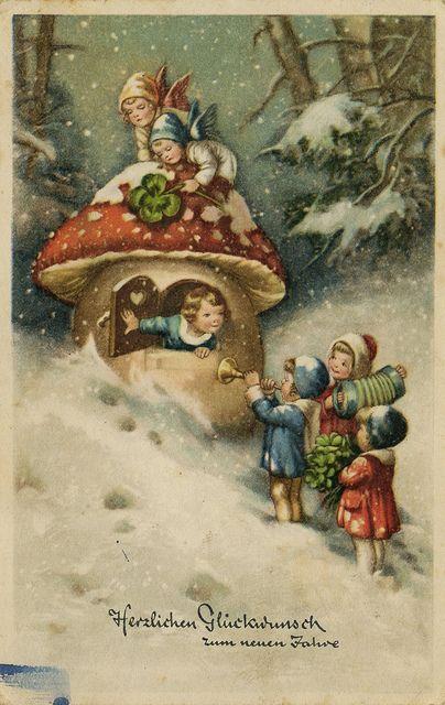 Herzlichen glckwunsch vintage christmas vintage and texas vintage german christmas card happy new year m4hsunfo