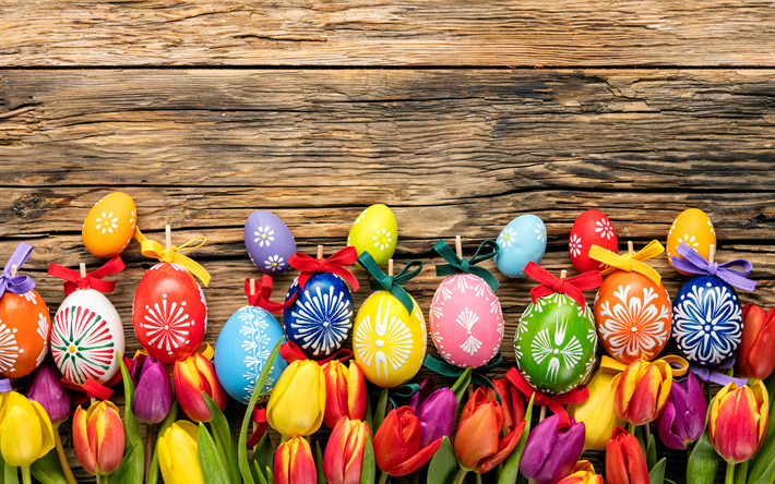 Download Wallpapers Happy Easter 4k Colorful Tulips Easter Eggs Wooden Texture Easter Decoration Easter Besthqwallpapers Com Easter Easter Eggs Easter Wallpaper