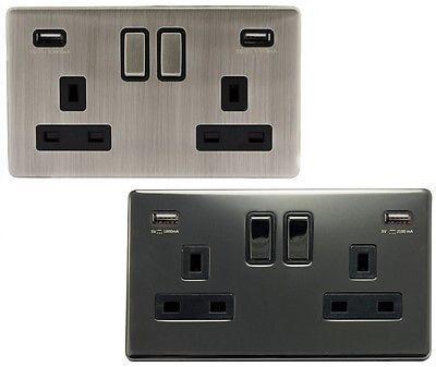 Double Wall Plug Socket 2 Gang 13A with 2 USB Ports Screwless Slim Flat Plate