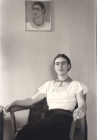 Frida Kahlo at the Barbizon Plaza Hotel, New York City, photo by Lucienne Bloch, 1931