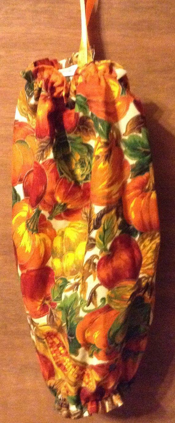 Plastic Bag Holder fall pumpkins by CydsCreations on Etsy
