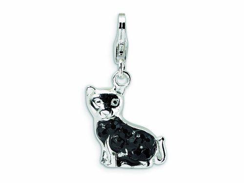 Amore LaVita Sterling Silver Cat Fancy Lobster Clasp Bracelet Charm
