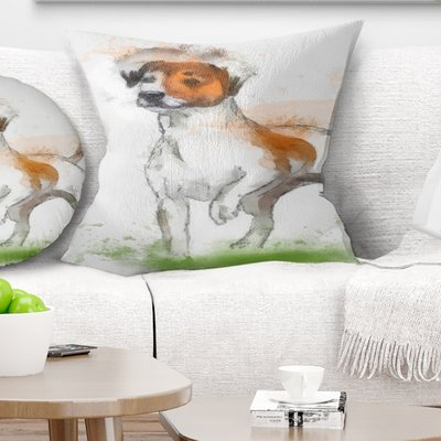 East Urban Home Animal Funny Dog Walking on Grass Pillow, Product Type: Throw Pillow, Polyester/Polyfill/Polyester/Polyester blend in Brown | Wayfair