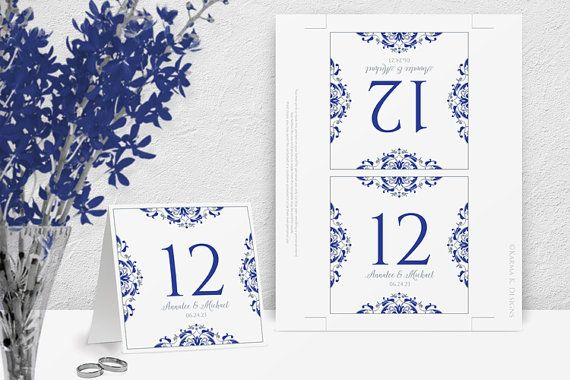 Vintage Table Number Template:  This table number tent features a beautiful vintage design framing your names in royal blue and silver / light gray. The vintage artwork was created by brilliant Ukrainian Artist, Nataliia Litovchenko. You can find her and more of her amazing vintage art at Shutterstock (Image ID: 124887382).  This is an instant download available in your Etsy account right after you order. You can change your wording and use your own fonts and font colors, but you wont be...