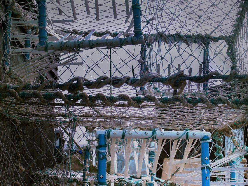 Pots and nets at the Stade, Hastings