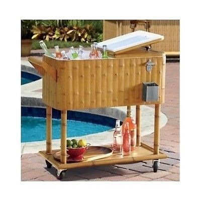 Patio Cooler Drink Beverage Beer Can Pool Ice Cart Wheels Bar Party Deck  Rolling | EBay
