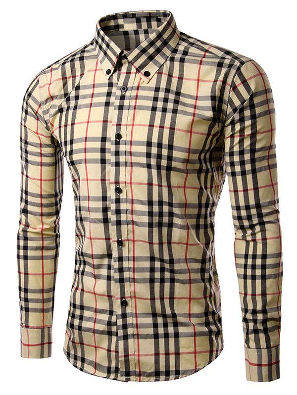 $11.36 Checked Long Sleeve Button-Down Shirt | Men Shirt ...