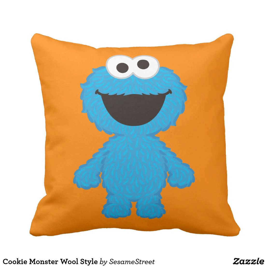 Cookie Monster Wool Style Throw Pillow Zazzle Com Throw