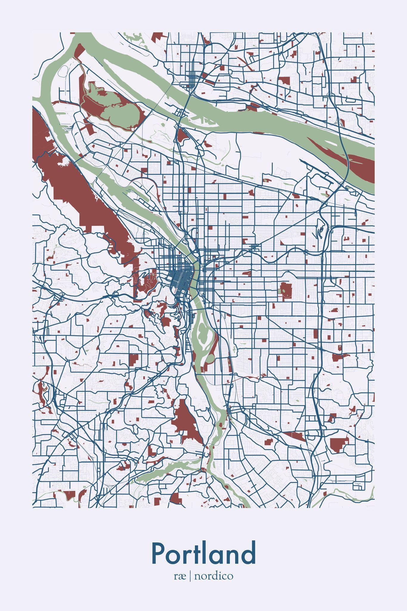 Portland USA Map Print Map Print Pinterest Oregon Usa Maps - Portland oregon on the usa map