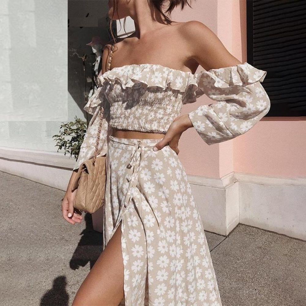 Casual vestido de mujer volante playa verano 2020 vestido estampado Floral – Tienda