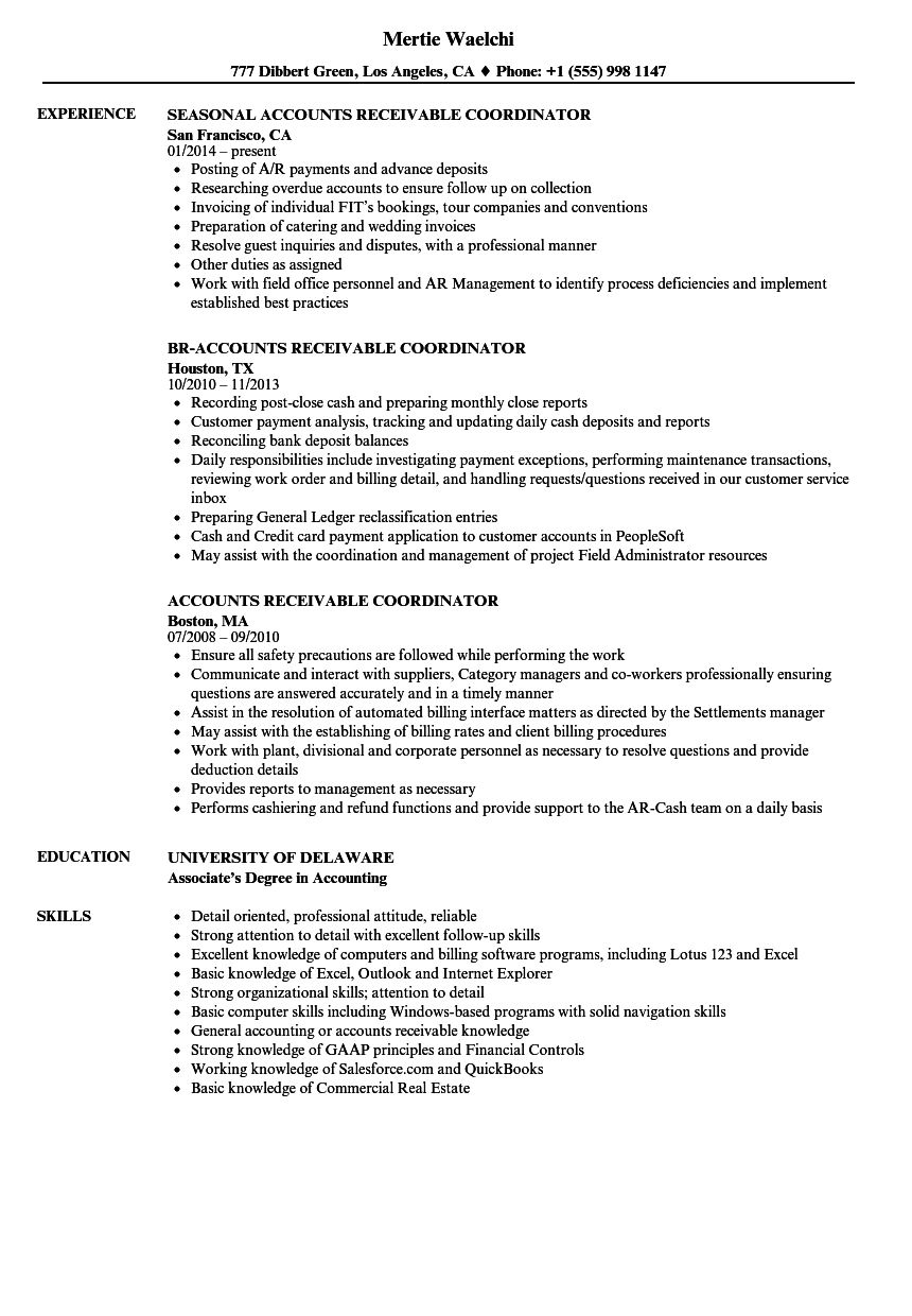 71 New Collection Of Resume Examples For Accounts Receivable Manager Resume Examples Resume Job Description