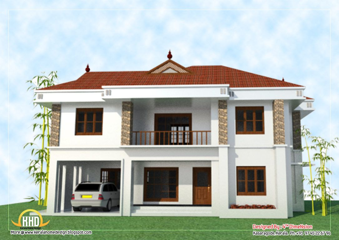 2 Story House Elevation 2743 Sq Ft Kerala Home