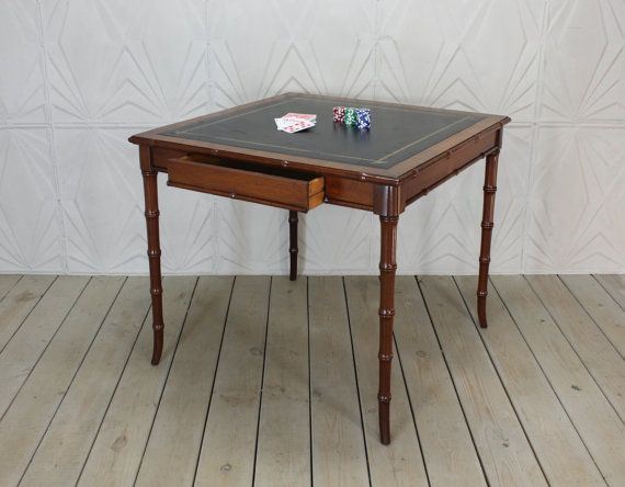 Very Elegant Faux Bamboo Style Wood And Leather Top Game Table This Table Is Most Likely From The 1950s Or 1960s It Is In Family Room Faux Bamboo Table Games