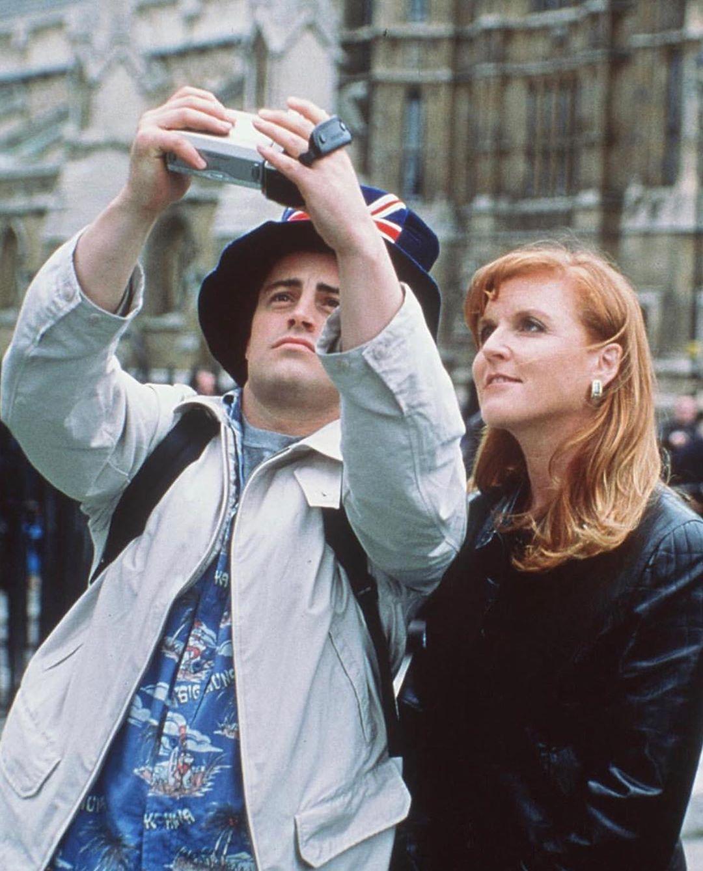 Matt LeBlanc and Sarah Ferguson filming a Friends episode