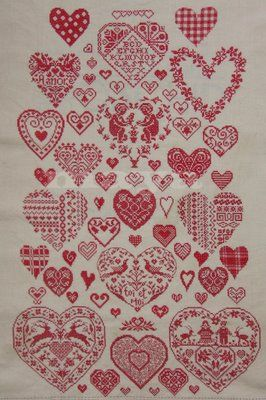 Million Little Stitches: Heart sampler is now complete.