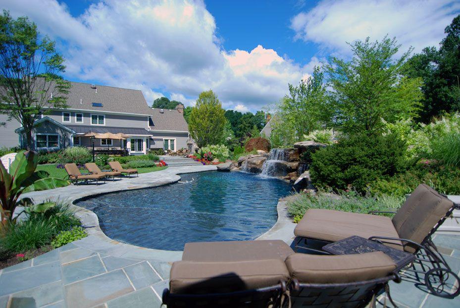 Landscaping Ideas By Nj Custom Pool Backyard Design Expert Inground Pool Landscaping Backyard Pool Swimming Pool Landscaping