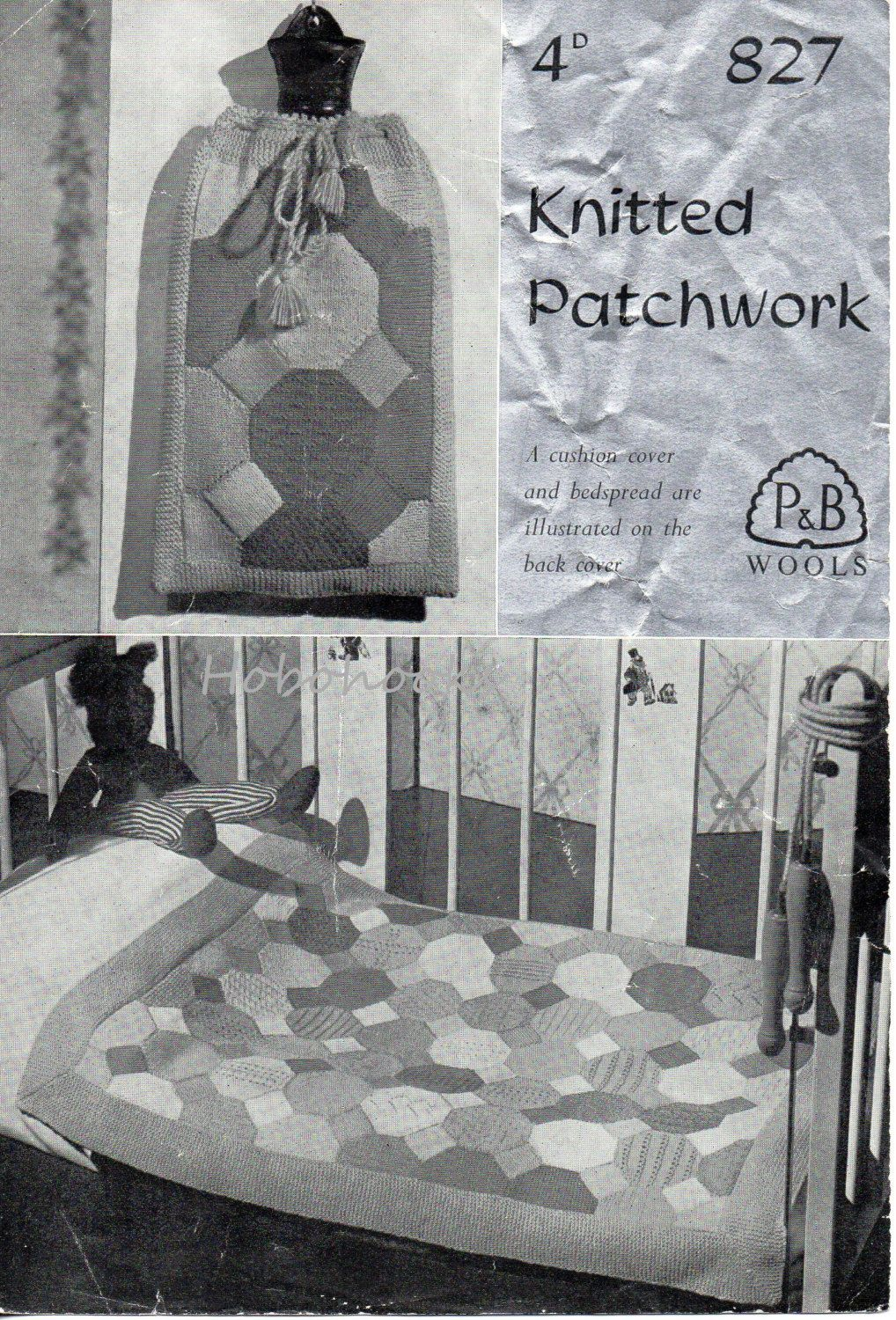 Knitted Patchwork Pram Cover Cot Cover Bedspread by Hobohooks ...