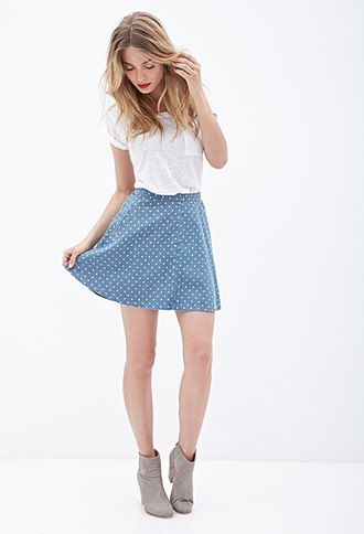abc73f805 Take a slice out of Summer with this breezy skater skirt! Cut from a lightweight  denim fabric with an allover petite polka dot print, you'll be flirting ...