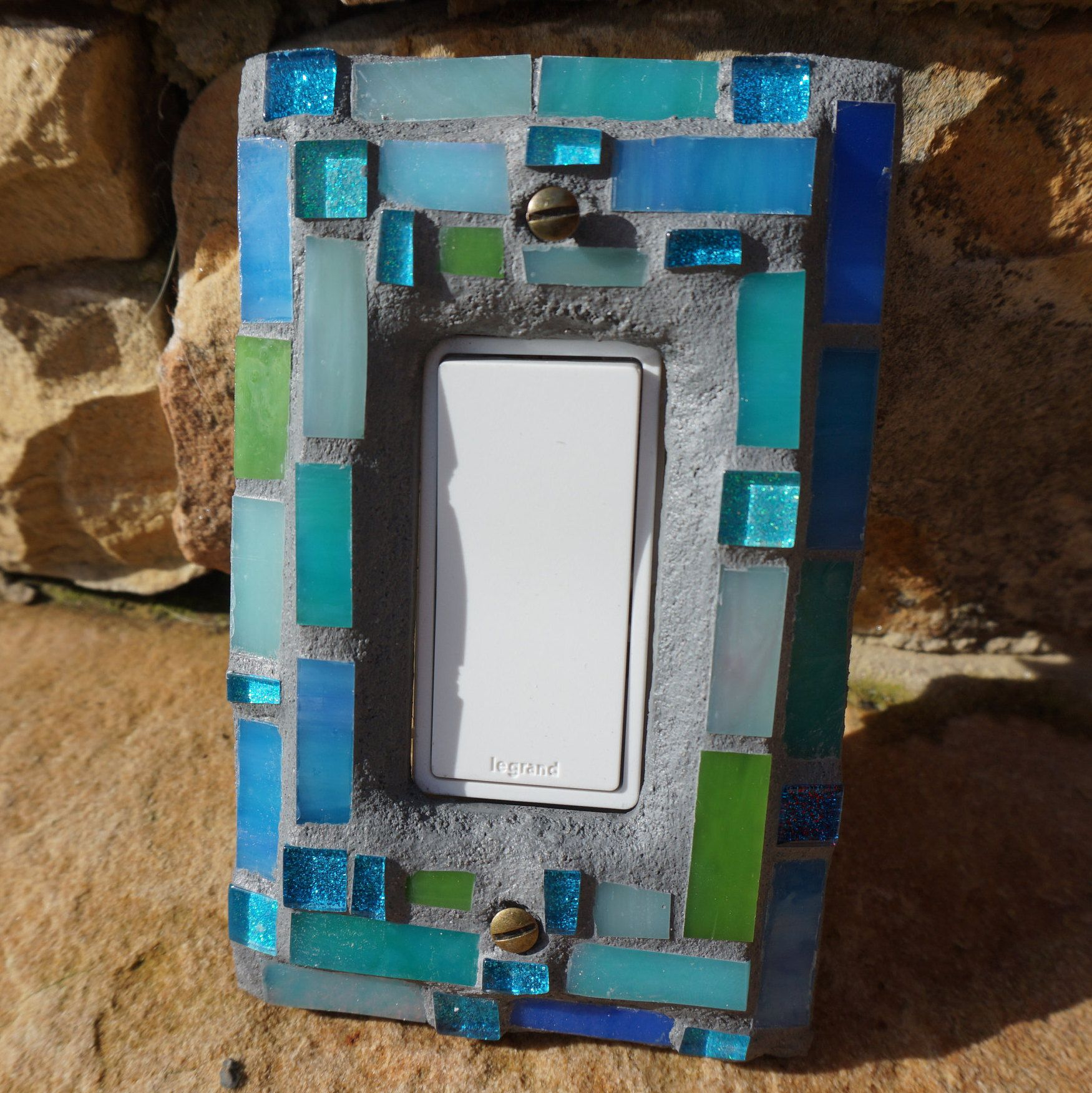 Mosaic Light switch cover plate stained glass ceramic