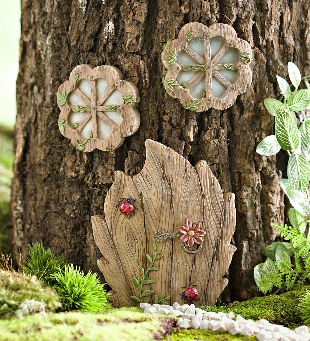 Miniature fairy garden daisy door tree accent miniature for Miniature fairy garden doors