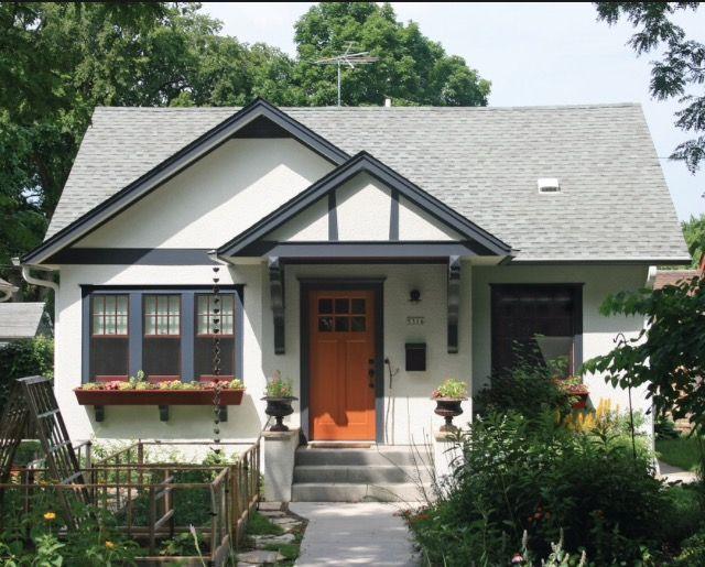 Color Scheme Idea Small Stucco Home Bungalow Exterior Small House Exteriors White Exterior Houses