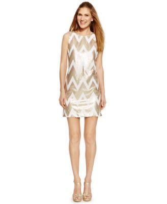 2292684145a6 Vince Camuto Chevron-Sequin Shift Dress   My Style   Chevron print ...