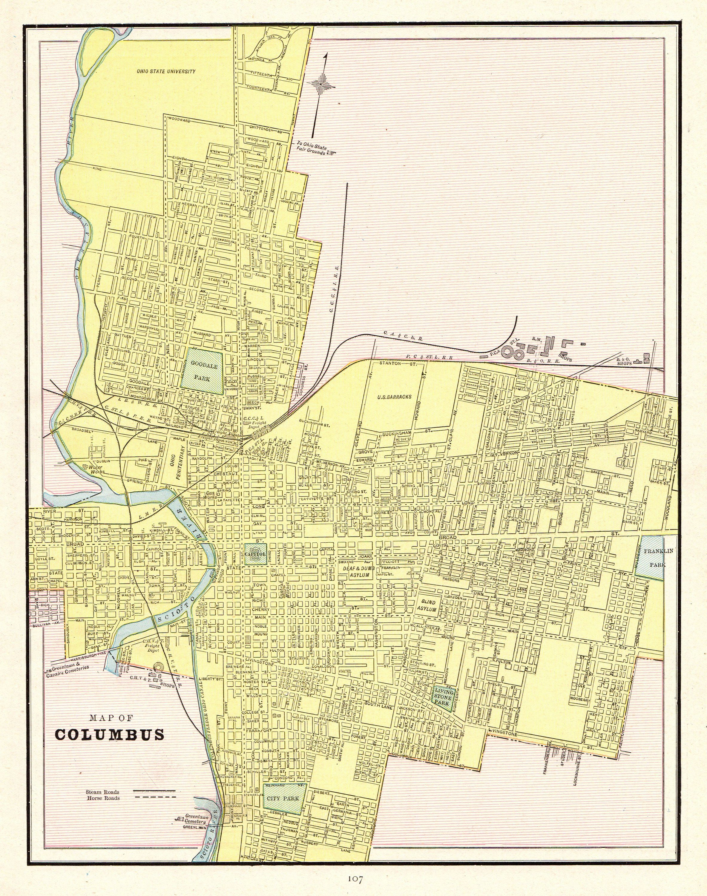 1902 Antique COLUMBUS Ohio Map Vintage City Map Print Gallery Wall ...