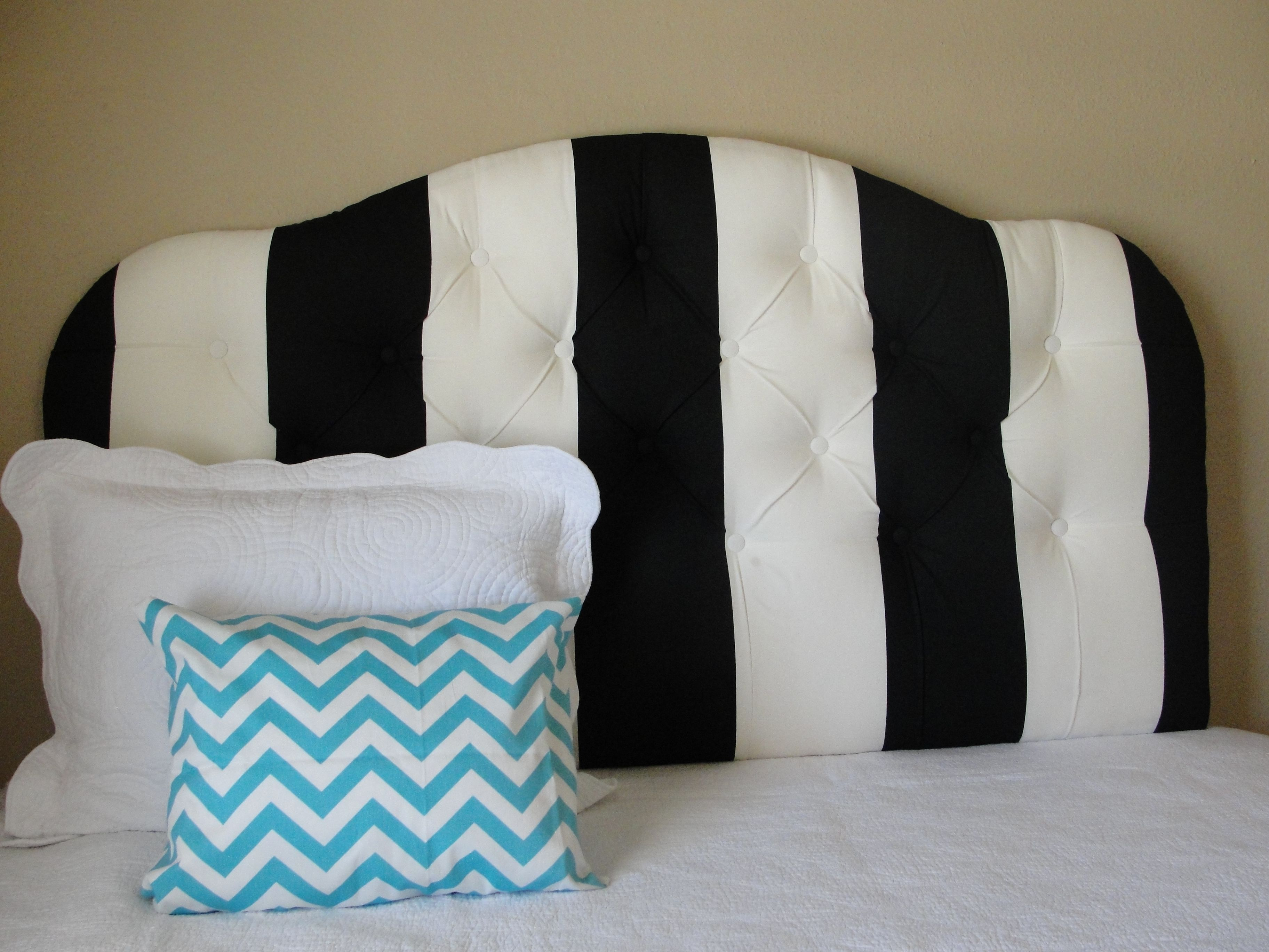 Black And White Striped Tufted Headboard