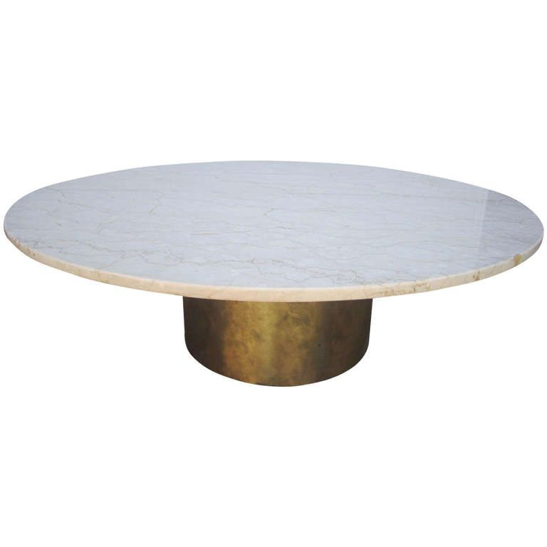 silas seandal style solid brass and marble coffee table midcentury modern from a
