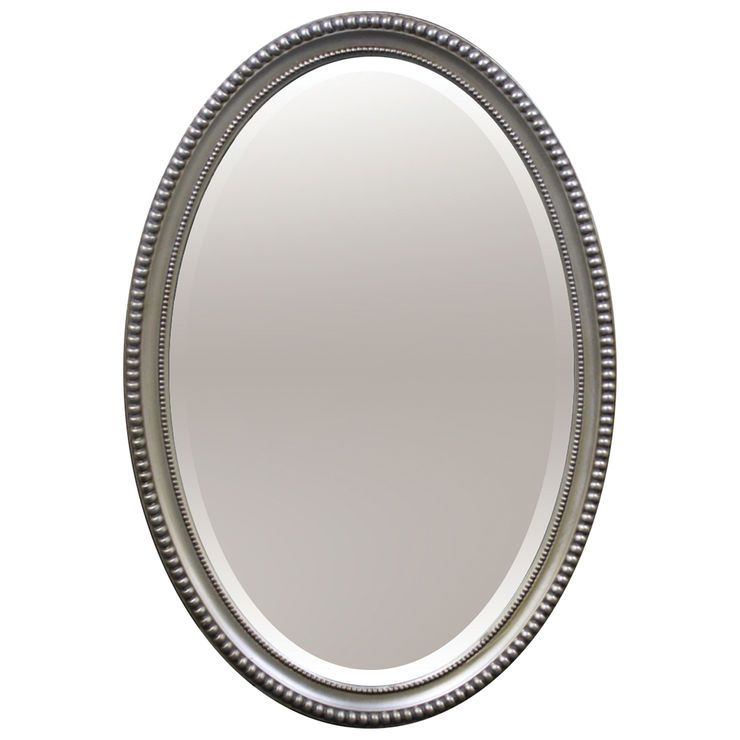 22 X 32 In Brushed Silver Oval Beaded, Oval Silver Beaded Mirror