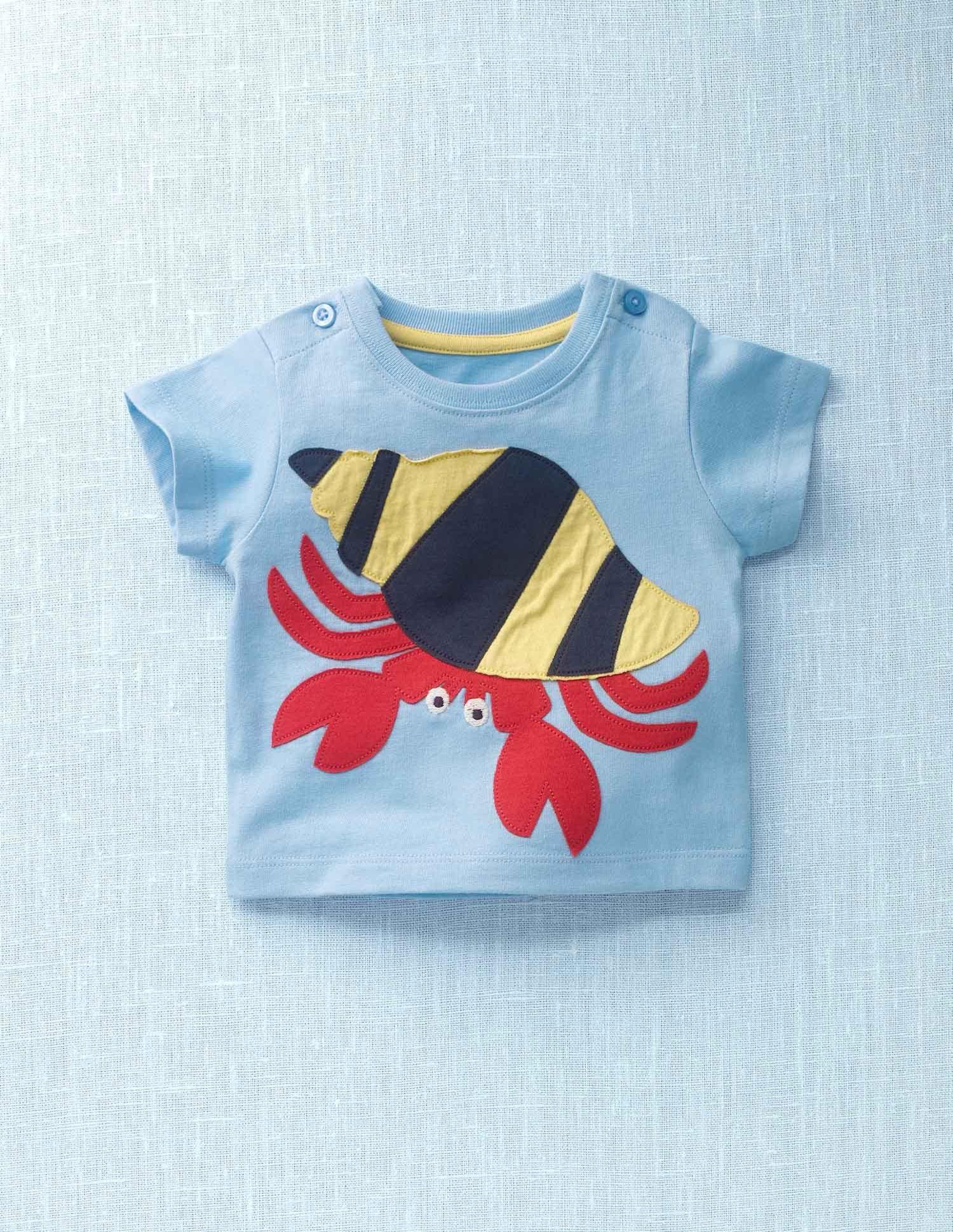 019cff28179 Mini Boden // Hermit Crab Appliqué T-shirt   ANIMALS   Baby boy t ...