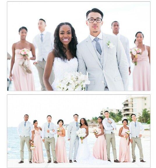 Beach wedding so cute! love the colors!
