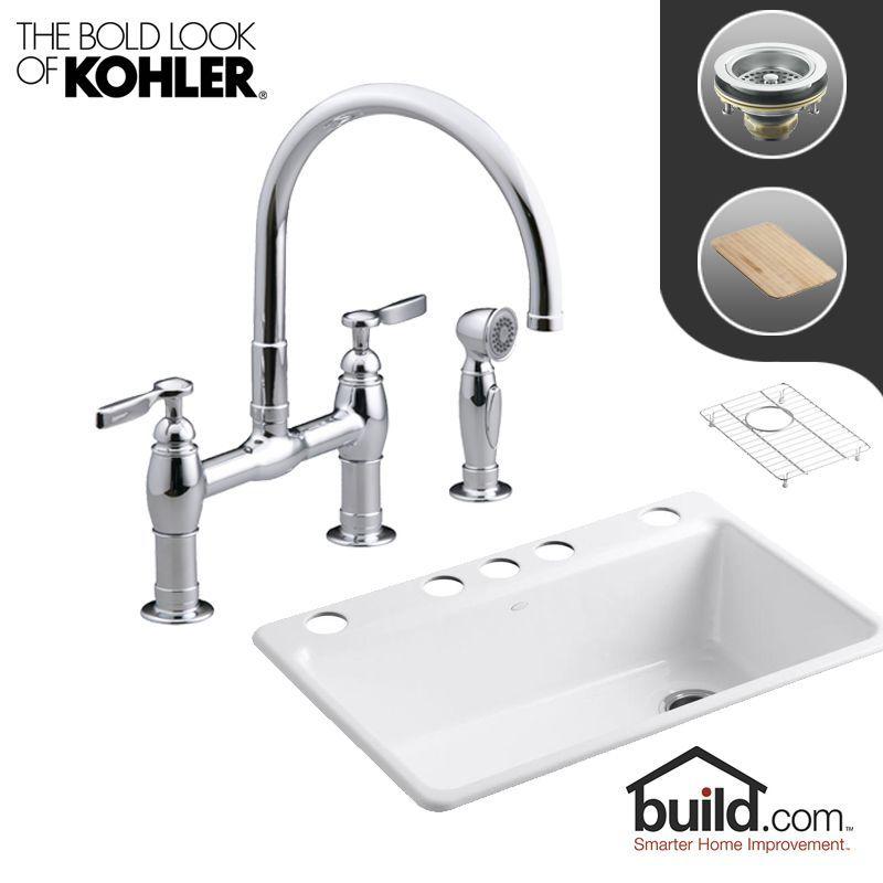 """Kohler K-5871-5UA3/K-6131-4 Riverby Kitchen Kit with 33"""" Cast Iron Single Basin"""