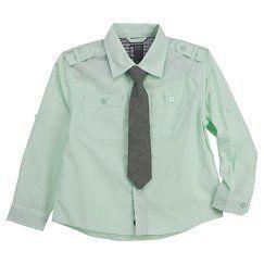 Toddler Boys' Button Down Shirt - Mint Green - No Retreat