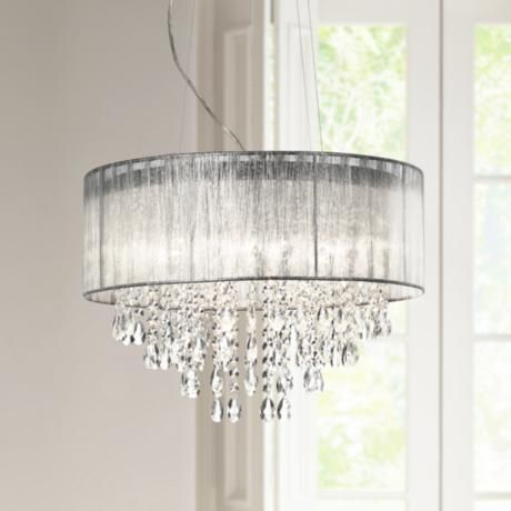 Possini euro metairie 20w silver fabric crystal chandelier possini euro metairie 20w silver fabric crystal chandelier w7974 lampsplus mozeypictures Gallery
