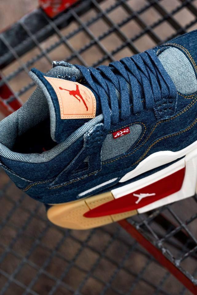 """Nike Air Jordan IV x Levis """"Blue Suede"""" Air jordans, Air"""
