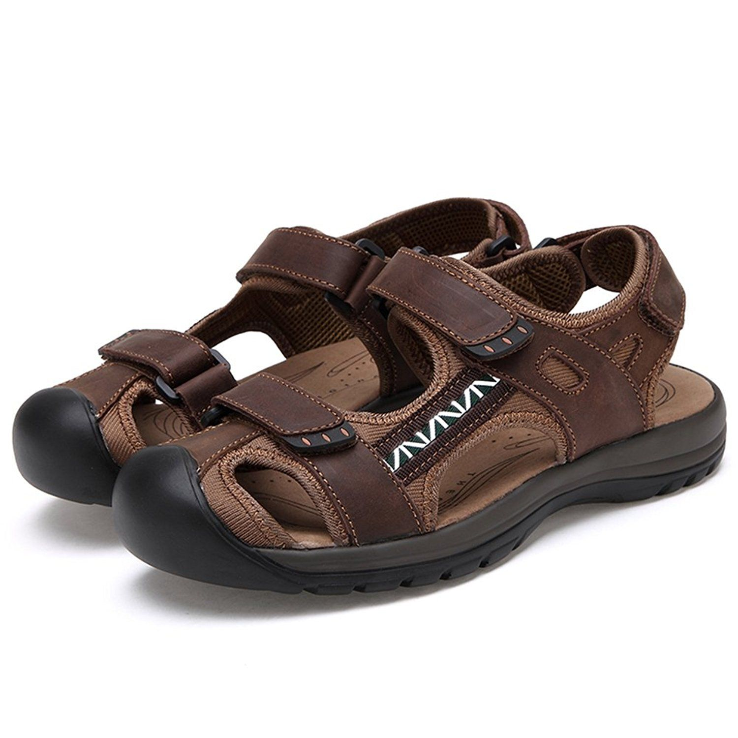 9f96860dfb452 Agowoo Womens Athletic Beach Hiking Closed Toe Sandals ** Visit the ...
