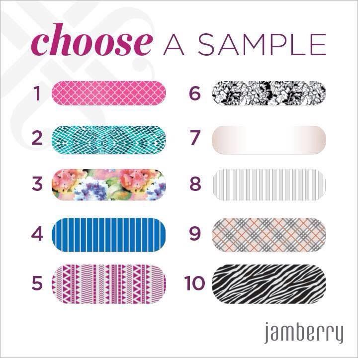 Choose a sample, send me a message with your address and I will mail it right away! This is a great alternative to polish, no fumes- non toxic and no chipping!