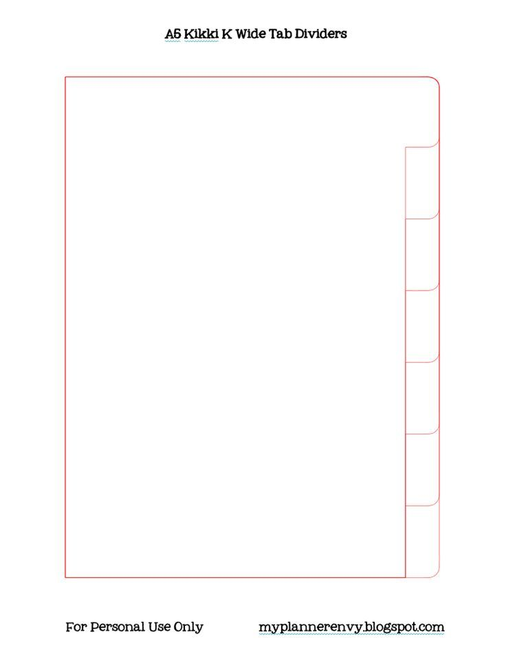 my planner envy wide tab kikki k style planner divider template free planner printable. Black Bedroom Furniture Sets. Home Design Ideas