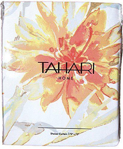 Tahari Luxury Cotton Blend Shower Curtain Printemps Floral Branches Yellow Orange Beige White Botanical Nature, http://www.amazon.com/dp/B014G76LFU/ref=cm_sw_r_pi_awdm_IR33vb0WYQNEW