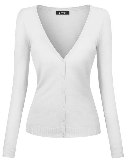 Thanth Womens V-Neck Long Sleeve Basic Knit Cardigan Sweater at ...