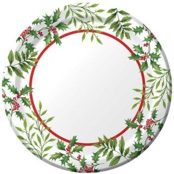 Glistening Holly 7-inch Christmas Paper Plates 8 Per pack by ...