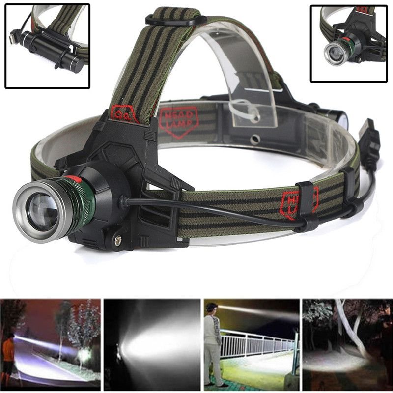 LED Headlamp USB Rechargeable Headlight Head Light Flashlight Travel Outdoor