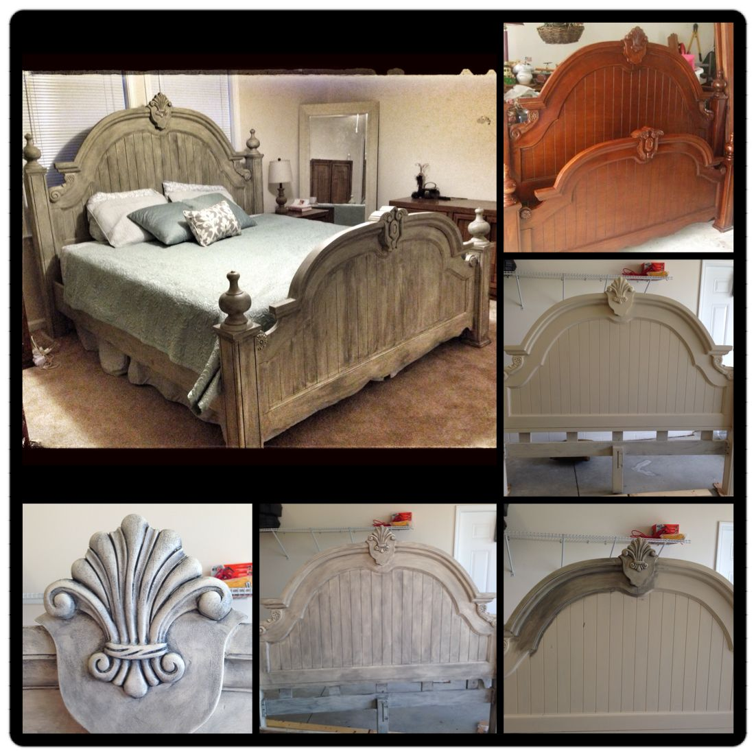 Upcycled bed annie sloan chalk paint old ochre with graphite and