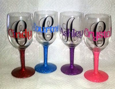 Glittered Wine Glass With Etched Monogram