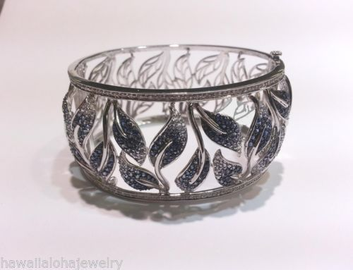 Hawaiian-Maile-Leaf-18k-White-Gold-3-59Cts-Sapphire-0-60Cts-Diamond-Bracelet-7-0