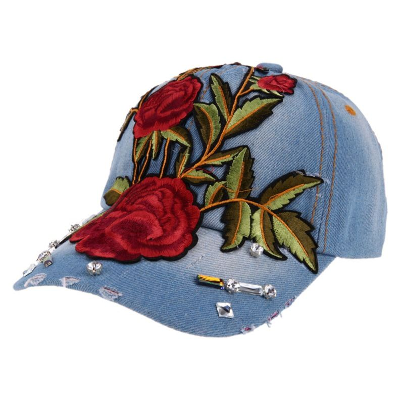 >> Click to Buy << Floral Embroidery Women Cap Fashion Chine Style Denim Summer Baeball Cap for Women Size Adjustable Hip Hop Cap 2017 Women Hat #Affiliate