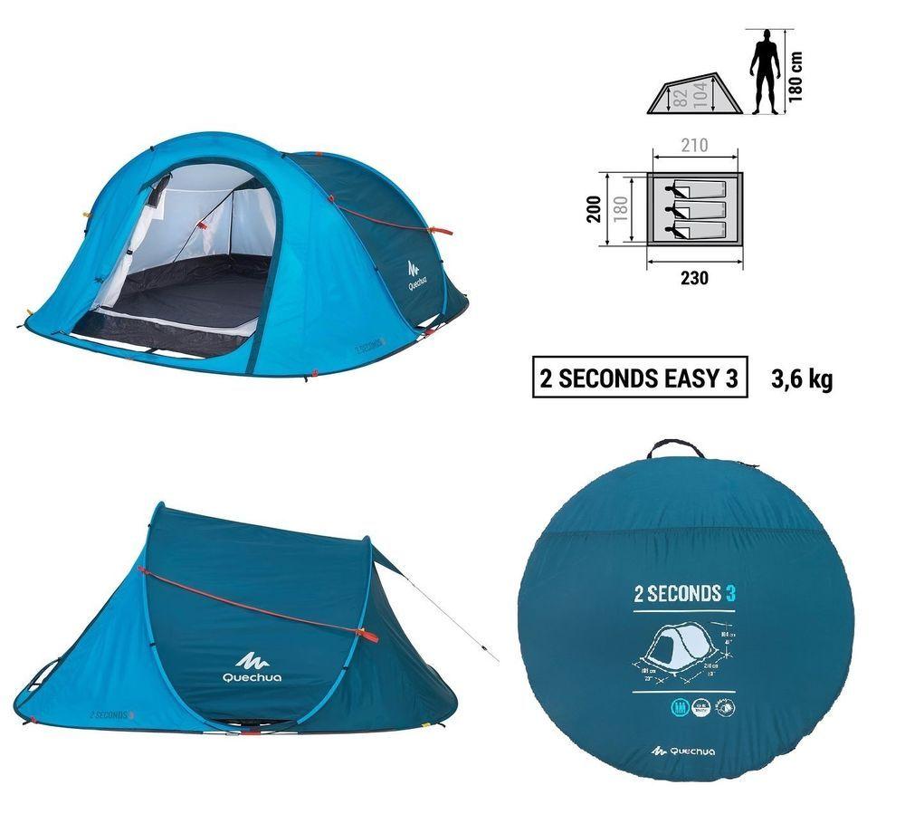 Quechua Pop Up 3 Personen Wurfzelt 2 Seconds Camping Zelt