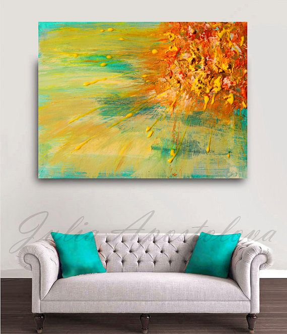 Sun Painting, Yellow Abstract Art, Print, Orange Green, XXL Painting ...